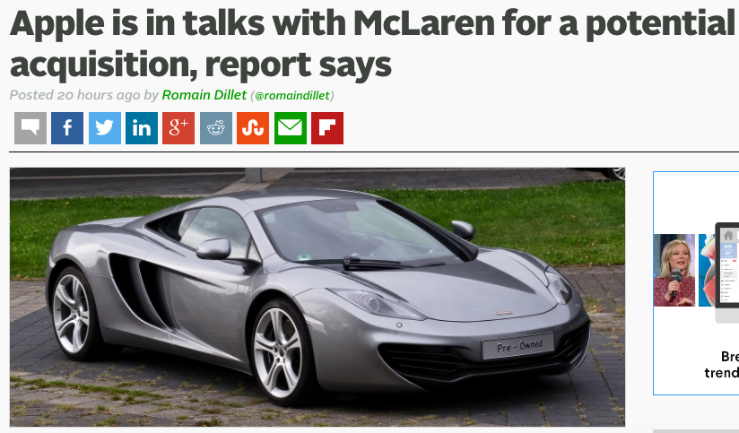 Apple is acquiring McLaren... not