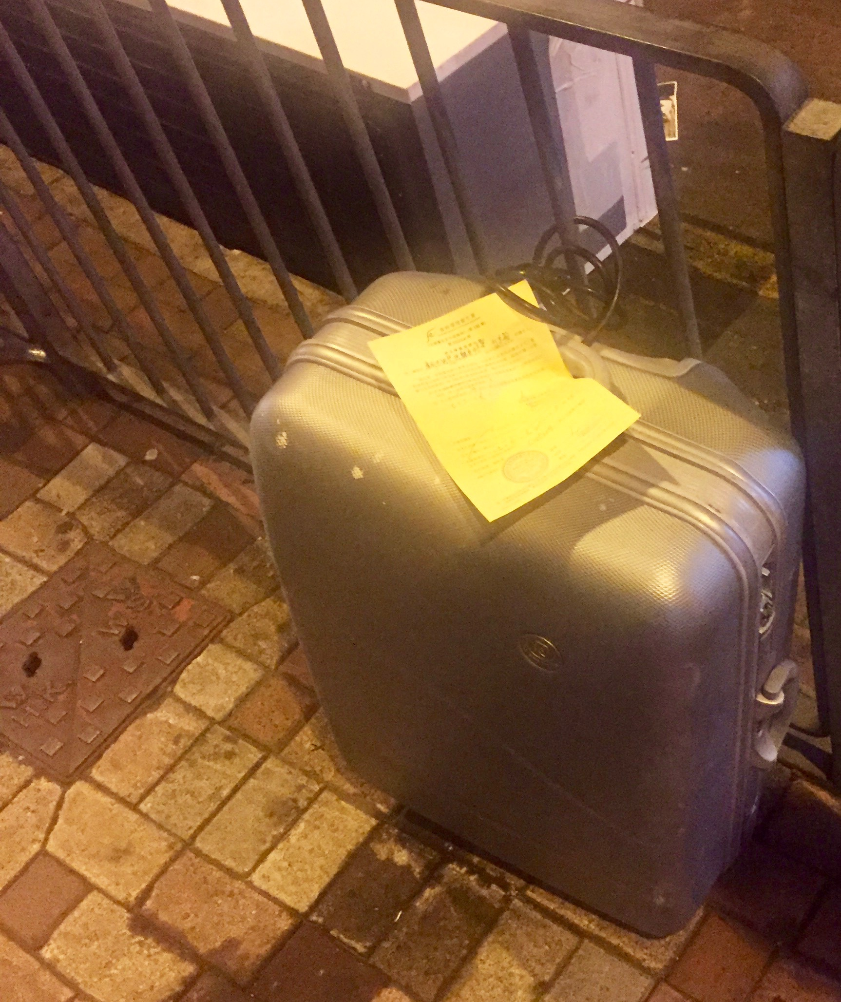 abandoned luggage in Hong Kong