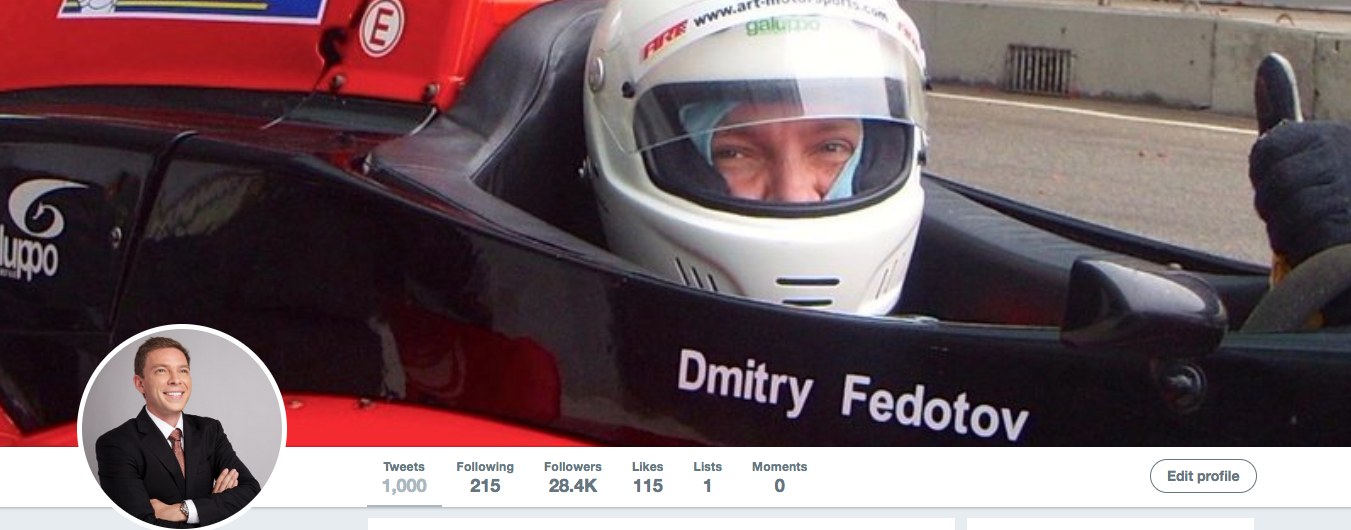 Reached 1000 Tweets at Dmitry Fedotov Twitter account.